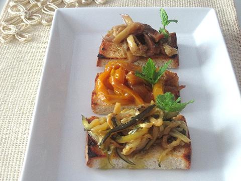 bruschette verdure agrodolce