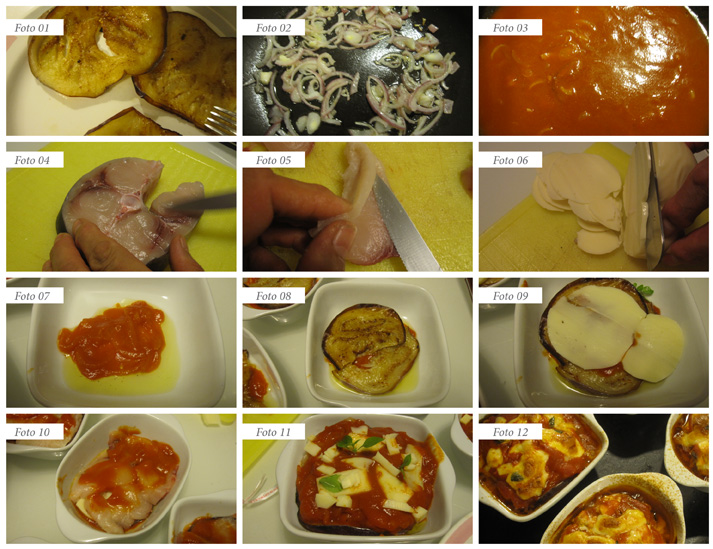 passaggi ricetta tortino di melanzane e pesce spada