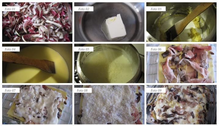 passaggi lasagne radicchio e speck