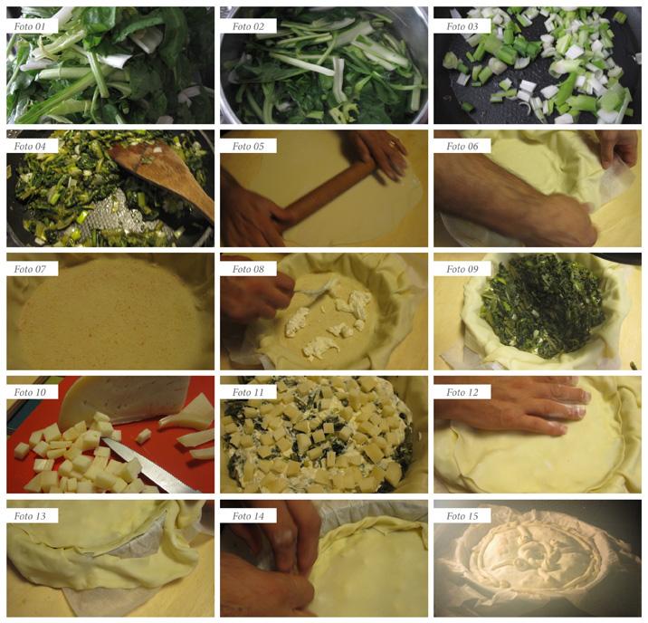 passaggi ricetta torta salata con cacicavallo ubriaco e verdure