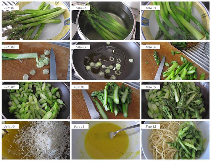 passaggi ricetta carbonara di asparagi
