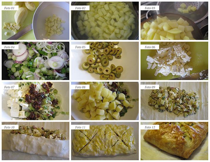 passaggi ricetta strudel con feta olive patate