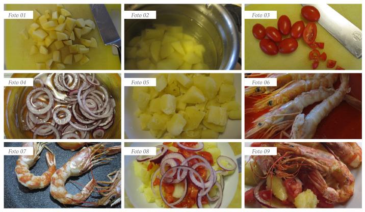 passaggi insalata di gamberoni  pomodorini patate cipolla