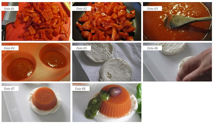 passaggi ricetta caprese con gelatina di pomodoro